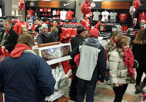The Barnes & Noble at The Ohio State University Bookstore in Columbus, Ohio, was filled with fans after the Buckeyes won the national football championship.