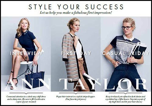 An Ann Taylor 'Style for Success' marketing piece that was distributed to graduating seniors.