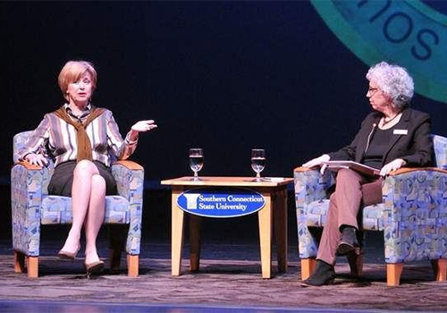 "Former ""Today"" host Jane Pauley, left, talks with WSHU Public Radio news director Naomi Starobin on stage at SCSU's Lyman Center. Peter Casolino (Photo: New Haven Register)"