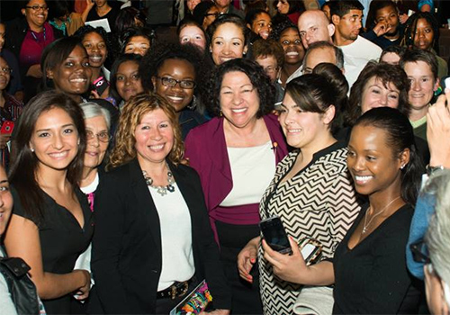 Supreme Court Justice Sonia Sotomayor, surrounded by audience members at the Lyman Center on her book tour.