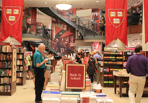 The Harvard COOP bookstore, located in Cambridge, Massachusetts, display titles that are bestsellers and potential bestsellers.