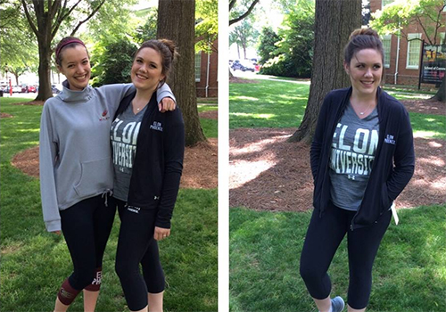 Students model emblematic athletic apparel from the Barnes & Noble at Elon University bookstore.