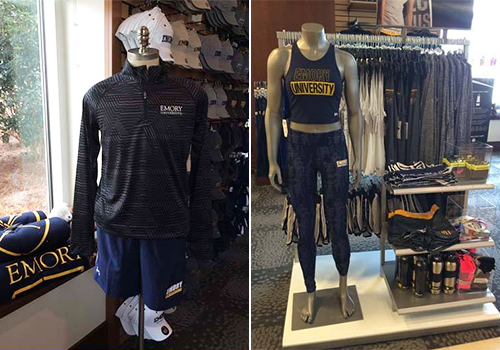 Athletic performance wear on display in the Barnes & Noble at Emory University Boosktore.
