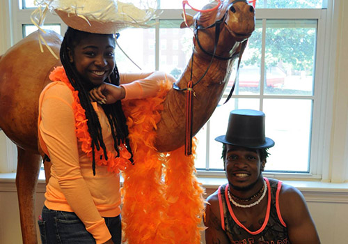 The Campbell University Bookstore allowed students to pose for photos with the school mascot, Gaylord the Camel.