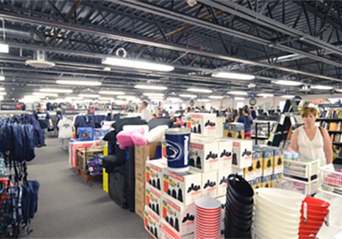An interior view of the temporary Penn State Bookstore. The bookstore operated out of 20,000 square-feet of trailers for two years while the student center was completely renovated.