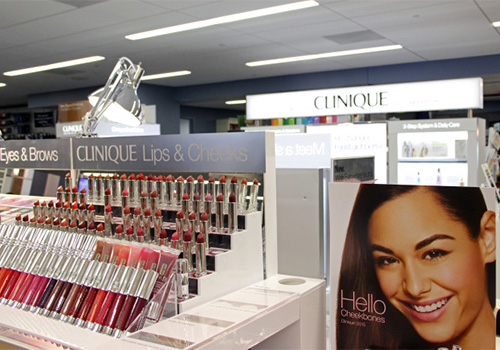 The new Clinique counter in the Penn State Bookstore attracts staff and students.