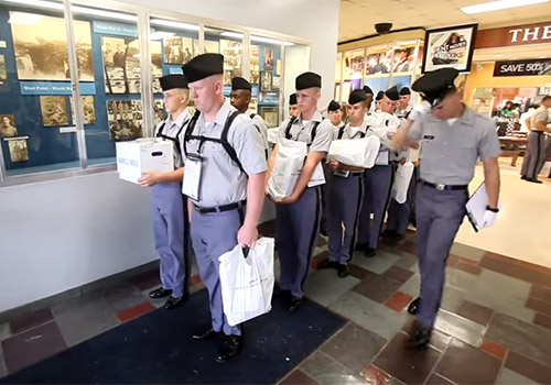 New cadets visit The Citadel Bookstore with their entire company to get their books on Book Draw Day.