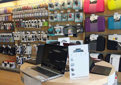The bookstore's tech center offers laptops, tablets and other technology gadgets and accessories.