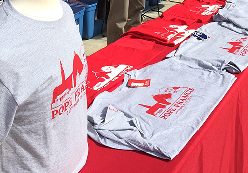 The Barnes & Noble at The Catholic University of America bookstore sold the official Papal visit tee-shirt on campus where the Pope held an outdoor mass.