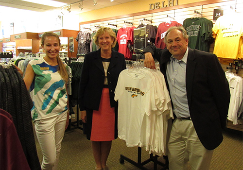 SUNY Delhi Bookstore Manager Julia Fetzer stands with VP for Student Life Barbara Jones and Provost Dr. John Nader.