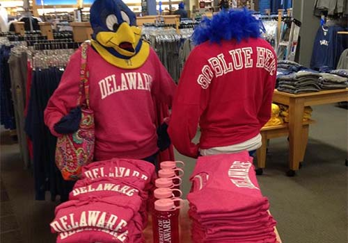 The Barnes & Noble at University of Delaware bookstore created pink spirit jerseys to support Breast Cancer Awareness Month.