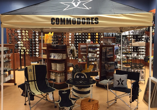The Barnes & Noble at Vanderbilt University Bookstore displays an assortment of tail-gating items for Commodore football fans within the store.