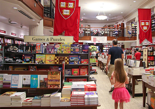 The toys and games section of the Harvard COOP Bookstore, located in Cambridge, Massachusetts.