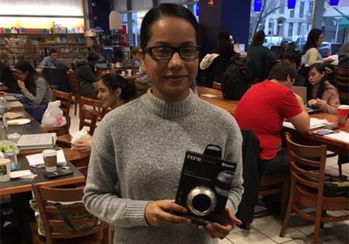 Baruch College student Ms. Kaur won an I-HOME from the bookstore's raffle at their DeStress Fest. The bookstore is located in New York City.