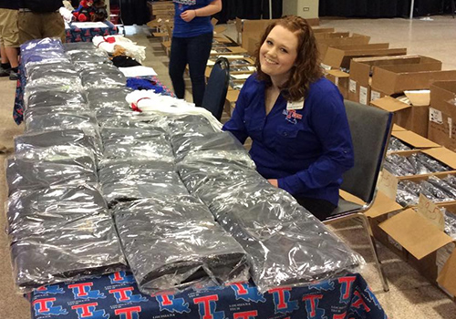 In Ruston, Louisiana, Caps and gowns are distributed at Louisiana Tech University.