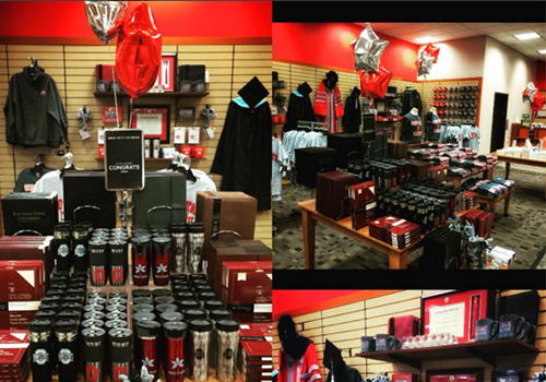 The Barnes & Noble at The Ohio State University showed it's Buckeye pride at this years Grad Fair. The bookstore is located in Columbus, OH.