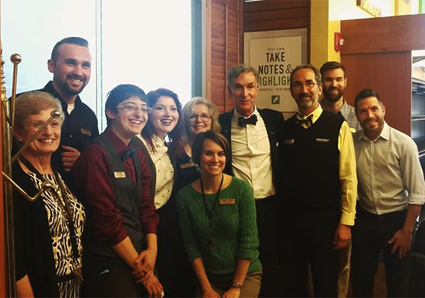 "Science educator, TV personality and author, Bill Nye, poses with the bookstore staff of Barnes & Noble at Vanderbilt University bookstore at his recent book signing to promote ""Unstoppable."""