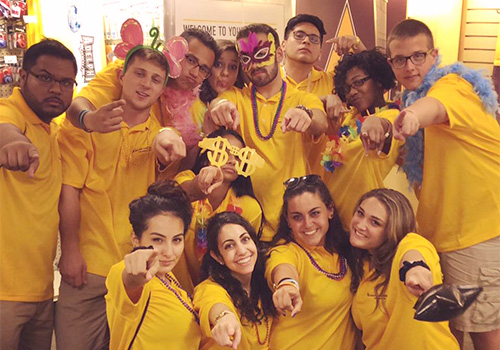"""Students at Adelphi University in Garden City, New York practice their """"power point"""" at Adelphi's VIP event this fall."""