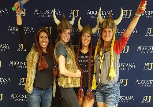 New students at Augustana University show their Viking pride at the Augustana University Bookstore's VIP event. Augustana University is located in Sioux Falls, South Dakota.